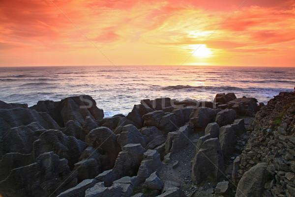 sunset at  Pancake grand canyon rock at west coast beach New Zea Stock photo © vichie81