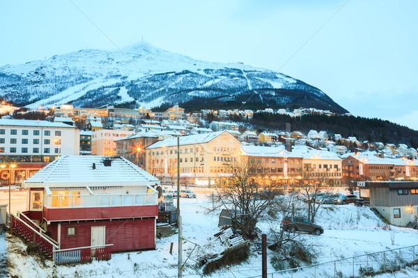город Норвегия города Cityscape сумерки здании Сток-фото © vichie81