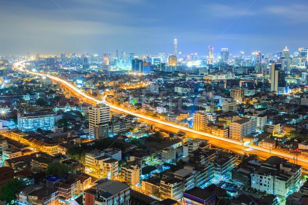 Bangkok centrum skyline nacht luchtfoto water Stockfoto © vichie81
