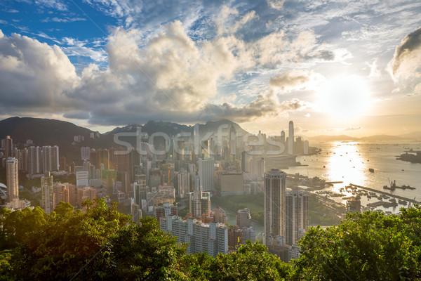 Sunset in hong kong city Skyline Stock photo © vichie81