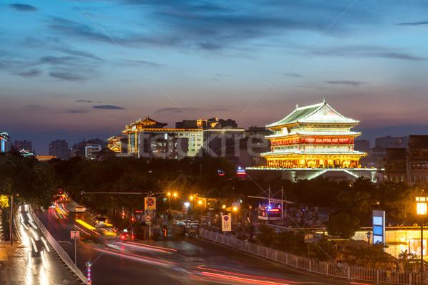 Tambor torre antigua ciudad China puesta de sol Foto stock © vichie81