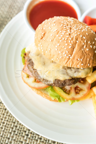 говядины гамбургер сыра жира сэндвич Сток-фото © vichie81