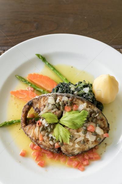 Makreel biefstuk aardappel voedsel achtergrond Stockfoto © vichie81