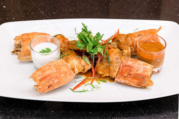 Fried Tiger River Prawn Red Curry Paste Chu Chee Kung Stock photo © vichie81