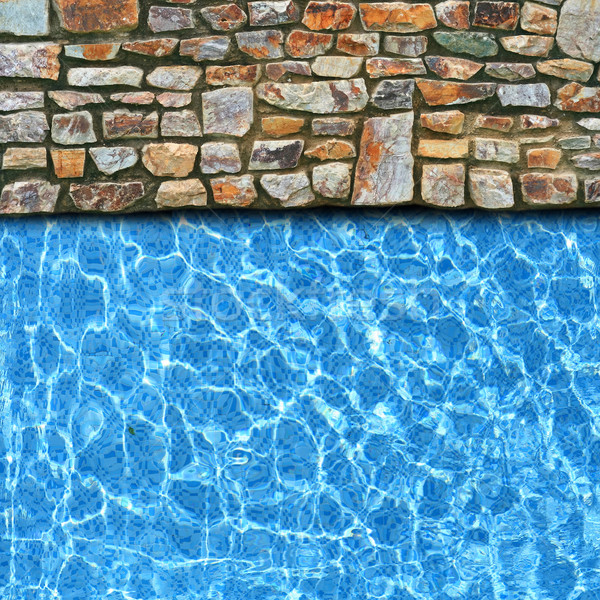 irregular stone pavement with pool edge background Stock photo © vichie81