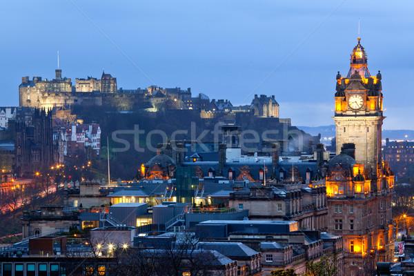Edinburgh zamek Cityscape Hill zmierzch Szkocji Zdjęcia stock © vichie81