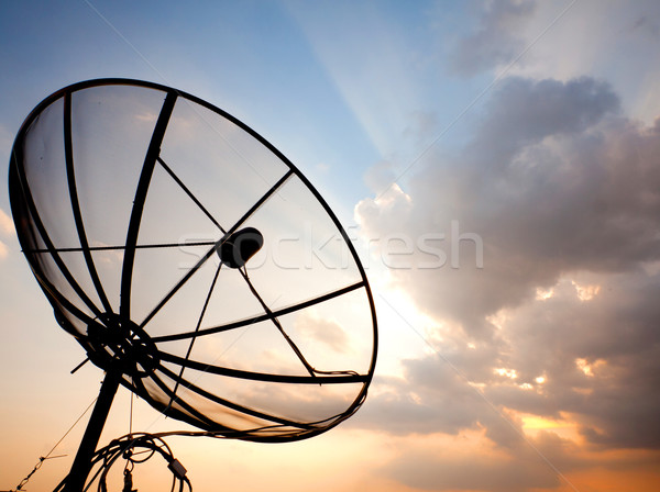 satellite dish over sunset sky Stock photo © vichie81