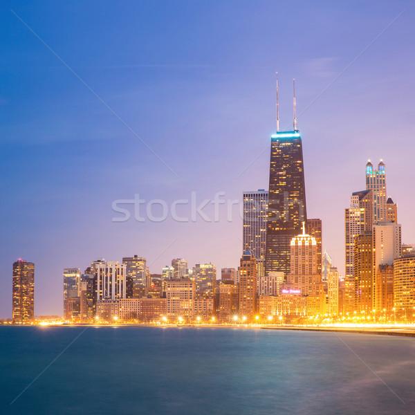 Chicago şehir merkezinde panorama atış göl Michigan Stok fotoğraf © vichie81