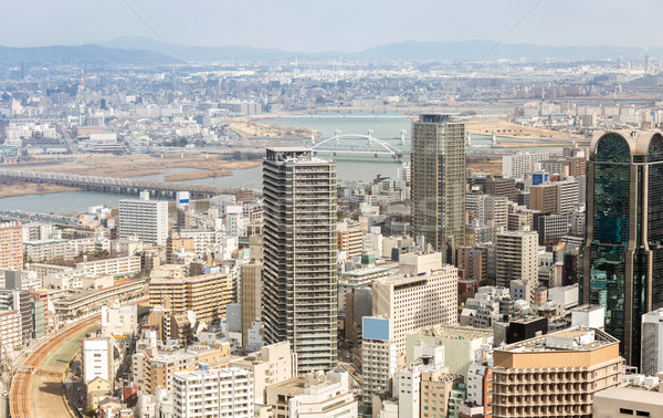 Osaka Cityscape ufuk çizgisi Bina Japonya Stok fotoğraf © vichie81