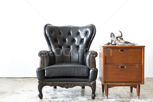 Retro leather chair with cabinet Stock photo © vichie81
