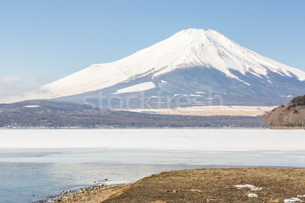 冬 富士山 湖 雪 冬季 ストックフォト © vichie81