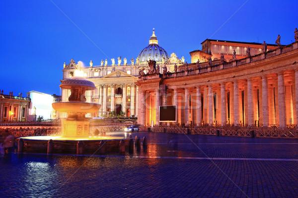 базилика Ватикан собора Рим Италия сумерки Сток-фото © vichie81