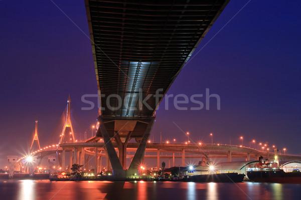 как моста пейзаж промышленных кольца сумерки Сток-фото © vichie81