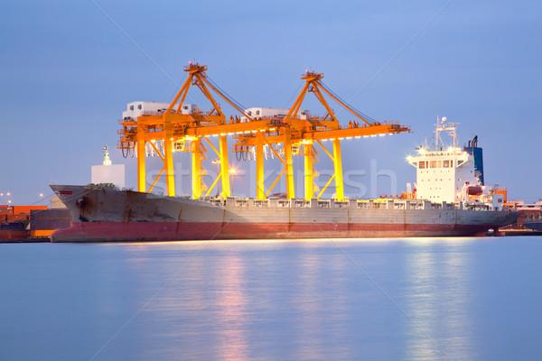 судоходства сумерки большой контейнера груза судно Сток-фото © vichie81
