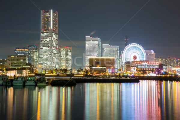 Сток-фото: Иокогама · Skyline · здании · небоскреба · центра · ночь