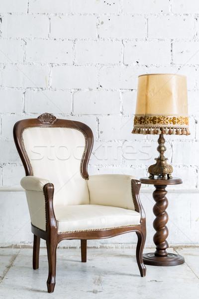 Blanche rétro président lampe vintage style rétro Photo stock © vichie81
