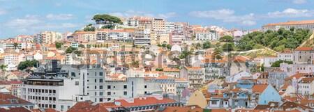 ストックフォト: リスボン · 景観 · ポルトガル · パノラマ · 市 · 家