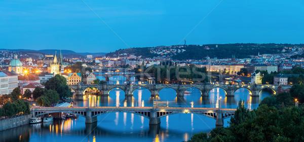 Panorama Prague at dusk Stock photo © vichie81