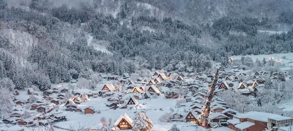 Sneeuwval Japan gebouw licht winter architectuur Stockfoto © vichie81