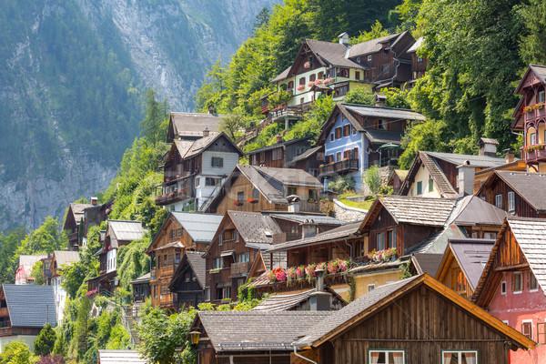 Stock fotó: Falu · Ausztria · klasszikus · kilátás · ház · természet