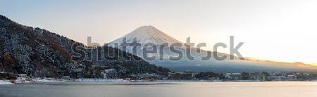 Foto stock: Montanha · fuji · ver · lago · pôr · do · sol · panorama