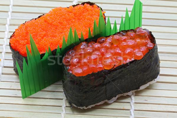 Stock fotó: Szusi · közelkép · lazac · tojás · piros · kaviár