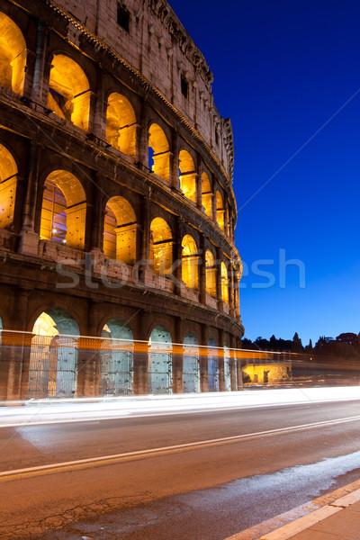 Colosseum Roma gece ünlü işaret İtalya Stok fotoğraf © vichie81