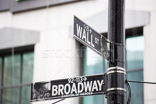 Wall Street broadway teken New York geld stad Stockfoto © vichie81