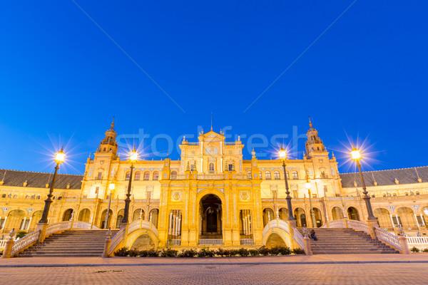 Facade of espana Plaza Seville Stock photo © vichie81