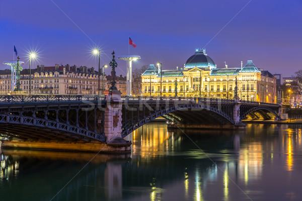 Lyon egyetem híd Franciaország folyó éjszaka Stock fotó © vichie81