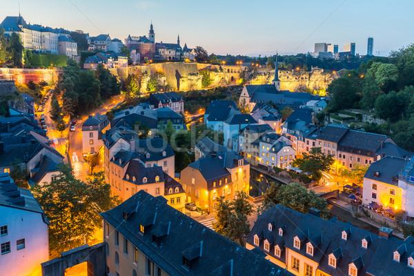 Люксембург ночному городу город закат Top мнение Сток-фото © vichie81