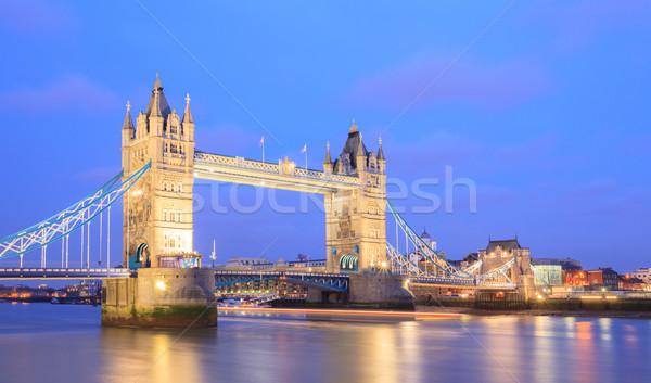 Stok fotoğraf: Londra · Tower · Bridge · panorama · akşam · karanlığı · İngiltere · köprü