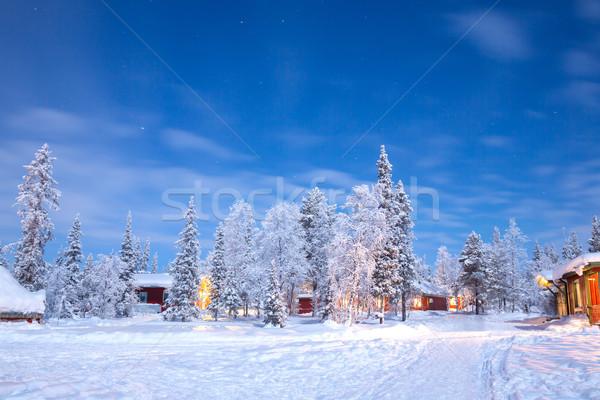 Inverno panorama Svezia cabina capanna notte Foto d'archivio © vichie81