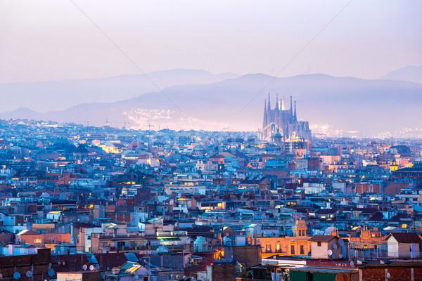 ストックフォト: バルセロナ · スペイン · 景観 · 夕暮れ · 空 · 家
