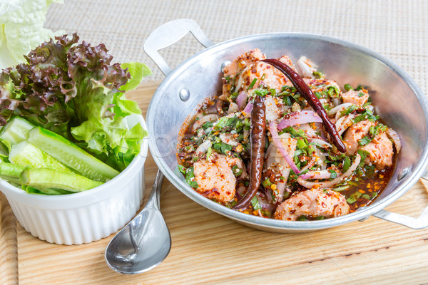 Gekruid zalm salade thai stijl Stockfoto © vichie81