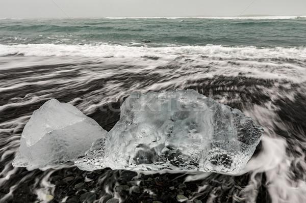 氷山 ダイヤモンド ビーチ 氷河 日没 青 ストックフォト © vichie81