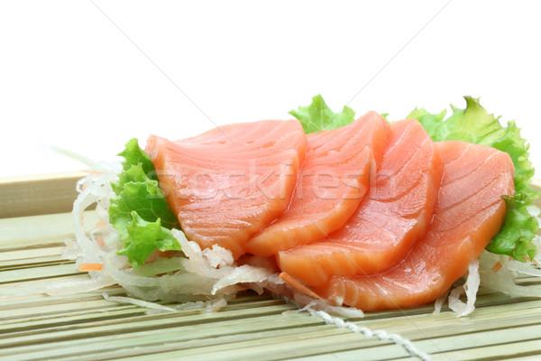 Somon sashimi salata taze bambu yemek Stok fotoğraf © vichie81