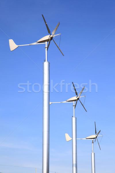 Szélturbinák farm zöld erő energia függőleges Stock fotó © vichie81