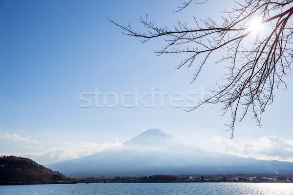 Foto stock: Montanha · fuji · lago · Japão · céu · água