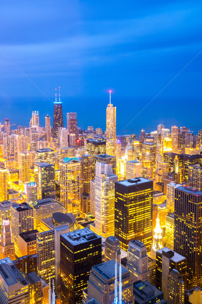Antenne Chicago centrum luchtfoto stad schemering Stockfoto © vichie81