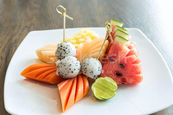 Exotisch tropische vruchten ingesteld dessert voedsel appel Stockfoto © vichie81