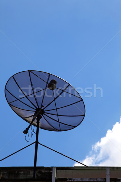 isolated of black satellite with sunny sky, vertical Stock photo © vichie81