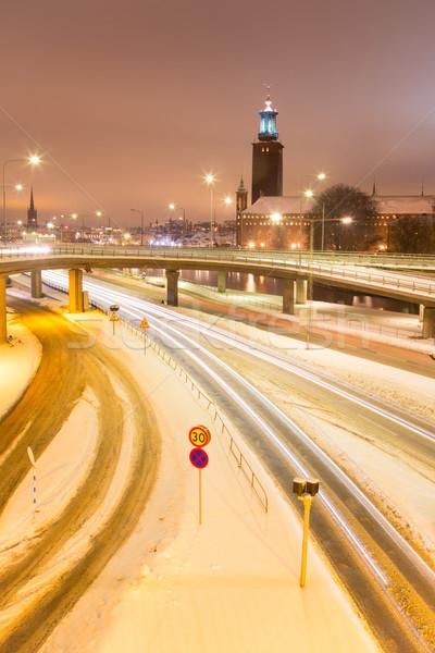 Stockholm gece taşımacılık ışık iz İsveç Stok fotoğraf © vichie81