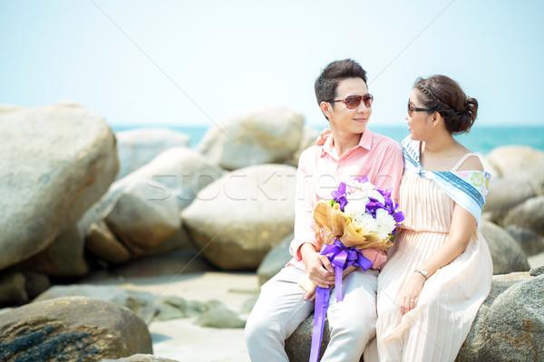 カップル デート 幸せ 愛 ビーチ ストックフォト © vichie81