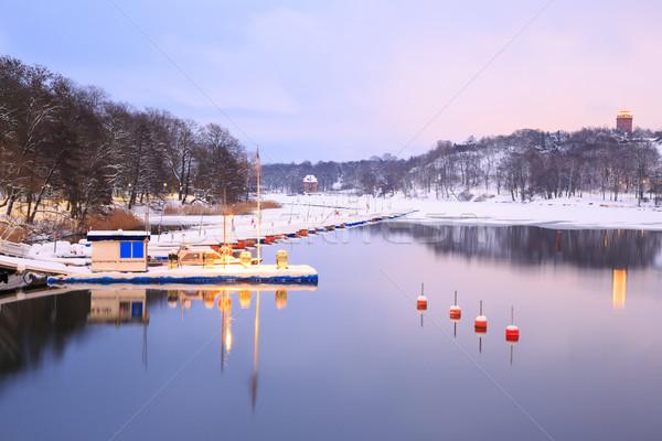 Göl Stockholm park İsveç Cityscape ufuk çizgisi Stok fotoğraf © vichie81