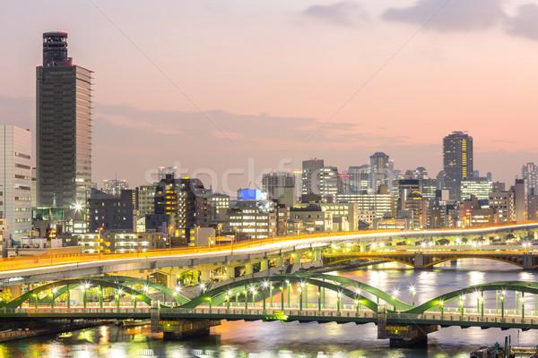 Tokió sziluett autópálya Japán éjszaka út Stock fotó © vichie81