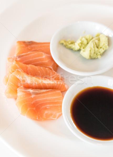 Somon sashimi Japon gurme mutfak beyaz Stok fotoğraf © vichie81