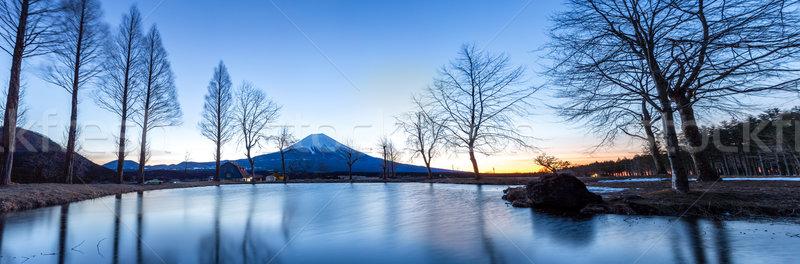 Mount Fuji Świt górskich Japonia panorama krajobraz Zdjęcia stock © vichie81