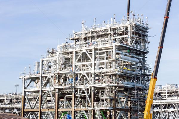 Rafineri bitki doğal gaz fabrika depolama tank Stok fotoğraf © vichie81