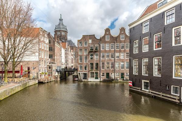 Stok fotoğraf: Amsterdam · gece · aziz · kilise · Hollanda · su